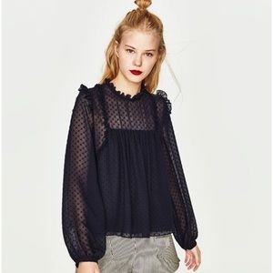 Zara Swiss Dot Puff Sleeve Blouse Large Navy Blue